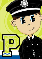 P is for Policeman Alphabet Learning Illustration