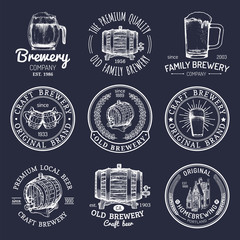 Old brewery logos set. Kraft beer retro signs or icons with hand sketched glass, barrel, mug etc. Vector vintage labels.