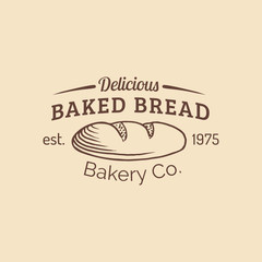 Vector vintage baked bread logo. Retro hipster pastry sign. Loaf isolated. Biscuit shop icon. Desert products emblem.