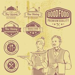 Vintage Premium Food Badges Vector. Classic and retro label set.