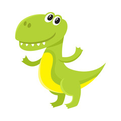 Cute and funny smiling baby tyrannosaurus, dinosaur, cartoon vector illustration isolated on white background. Funny, happy T-rex dinosaur, tyrannosaurus character, decoration element