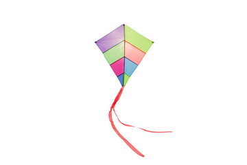 angle view of a colorful kite flying with waving red bow in a white background
