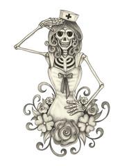 Art nurse skull.Hand pencil drawing on paper.