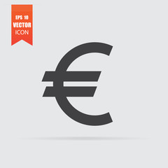 Euro icon in flat style isolated on grey background.