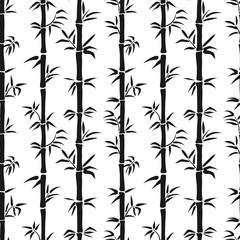 Black and white seamless bamboo pattern. Vector tropical background.