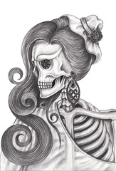 Art women skull day of the dead.Hand pencil drawing on paper.