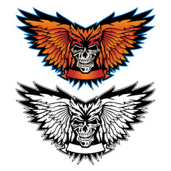 Skull wing logo graphic vector illustration in both full color and black and white