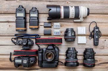 Photographic equipment on an old board