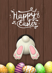 Easter motive, bunny bottom and easter eggs on brown wooden background, illustration