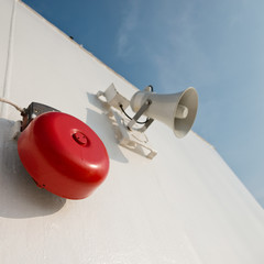 Megaphone used for emergency alarms on cruise ship.