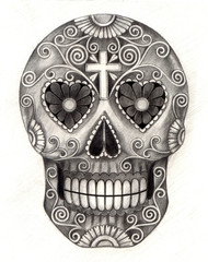 Art Sugar Skull.Hand pencil drawing on paper.