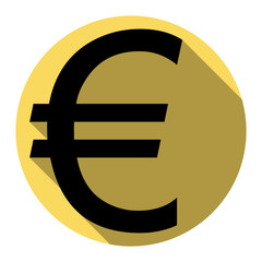 Euro sign. Vector. Flat black icon with flat shadow on royal yellow circle with white background. Isolated.