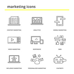 Marketing icons set: content, mobile, video, influence and personalized marketing, analytics, responsive, SMM, chatbots