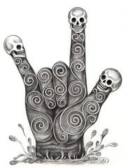 Art hand symbols love skull.Hand pencil drawing on paper.
