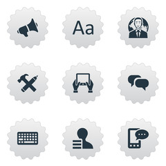 Vector Illustration Set Of Simple Newspaper Icons. Elements Loudspeaker, International Businessman, Cedilla And Other Synonyms Typography, Notepad And Tablet.