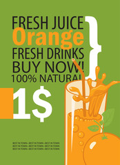 vector banner with orange, glass of juice and text on green background