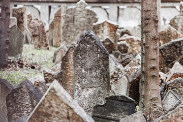 Tombstones in the Old Jewish Cemetery in Prague, Gothic concept