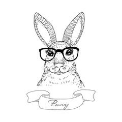Vintage Rabbit sketch. Hand drawn vector illustration. Vector Print.