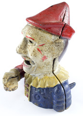 Antique Clown Hand Money Box