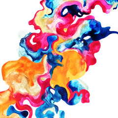 Hand painted decorative wavy blot poster