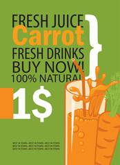 vector banner with carrot, glass of juice and text on green background