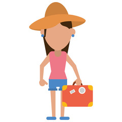 traveler woman hat suitcase vector illustration eps 10