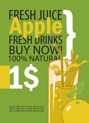 vector banner with apple, glass of juice and text on green background