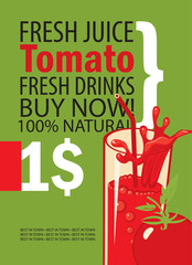vector banner with tomatoes, glass of juice and text on green background
