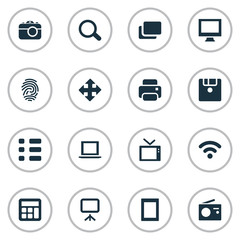 Vector Illustration Set Of Simple Hardware Icons. Elements Photocopier, Tuner, Laptop And Other Synonyms Branch, List And Monitor.