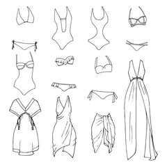 Hand drawn vector clothing set. Different models of beachwear.