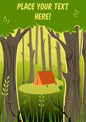 Vector background with place for text. Brown tent in sunny forest.