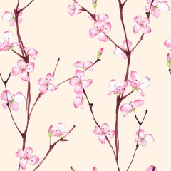 Blossom. Watercolor seamless floral pattern. Hand drawn background 3