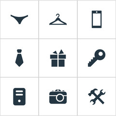 Vector Illustration Set Of Simple  Icons. Elements Repair, Mobile Phone, Password And Other Synonyms Computer, Processor And Hanger.
