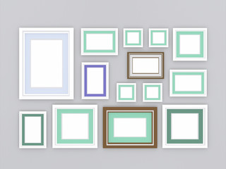 3d illustration, 3d render, composition of rectangular empty photo frames on an abstract background with a periodic linear pattern.