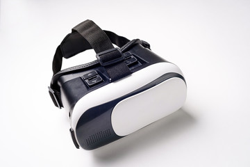 Virtual Reality glasses with smartphone, on white background. vr gadget concept.