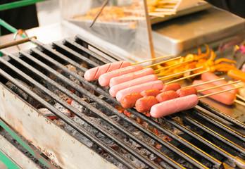 grill hot dog, bbq