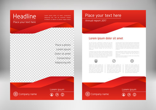 Red geometric flyer cover, business brochure vector design. Leaflet advertising abstract background. Modern poster magazine layout template. Annual report for presentation. Front and back page.