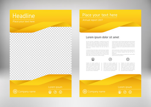 Poster, flyer, pamphlet, brochure cover design layout with geometric shape graphic elements and space for photo, yellow color portfolio, vector template in A4 size. Annual report for presentation