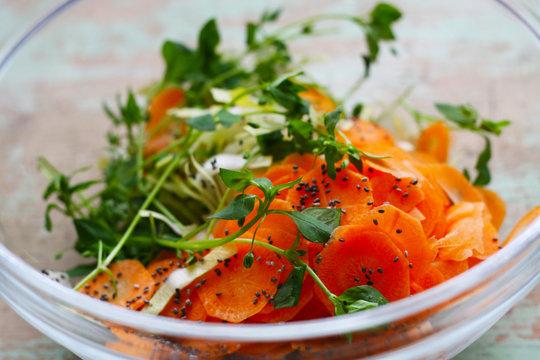 Vogelmiere (Stellaria media) sogenanntes Unkraut im Garten als leckeren Salat, Chicorée, Möhre, Chiasamen - Frischer Salat im Frühjahr