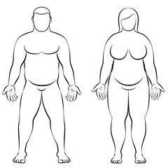 Fat couple - overweight male and female - anterior view - isolated outline vector illustration.