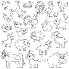Farm Animals set colorless.