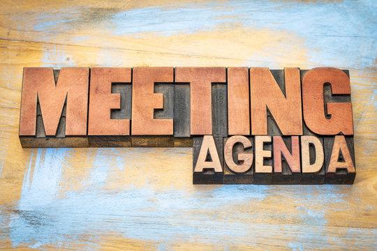meeting agenda banner in letterpress wood type