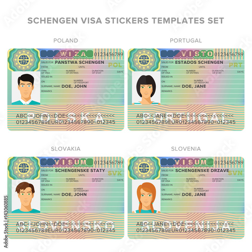 Schengen Visa Passport Sticker Templates For Poland Portugal Slovakia Slovenia Set Stock