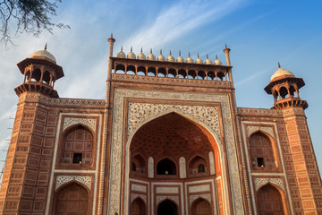 Wall Mural - Taj Mahal west gate close up - A beautifully crafted red sandstone structure bearing the heritage of Mughal architecture in India.