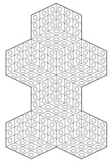 coloring page style geometric abstract with3D illusion