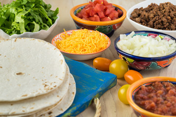 Ingredients for homemade beef tacos.