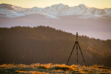 Tripod in the light of morning