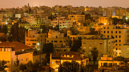 residential district in Amman city in night