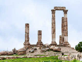 Temple of Hercules at Amman Citadel in winter
