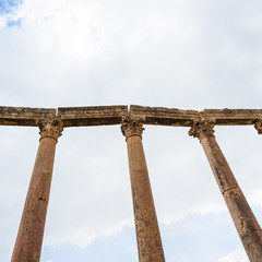columns on Acardo maximus road in Jerash town